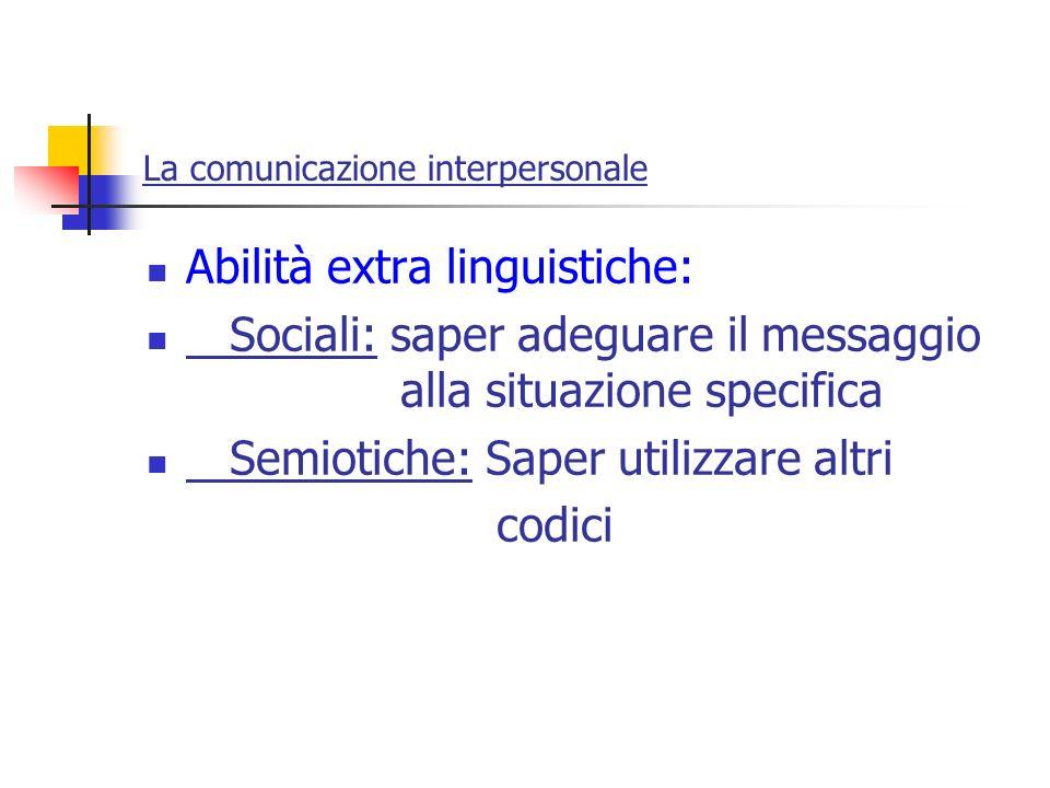 La comunicazione interpersonale Abilità extra linguistiche: Sociali: saper adeguare il messaggio alla situazione specifica Semiotiche: Saper utilizzar