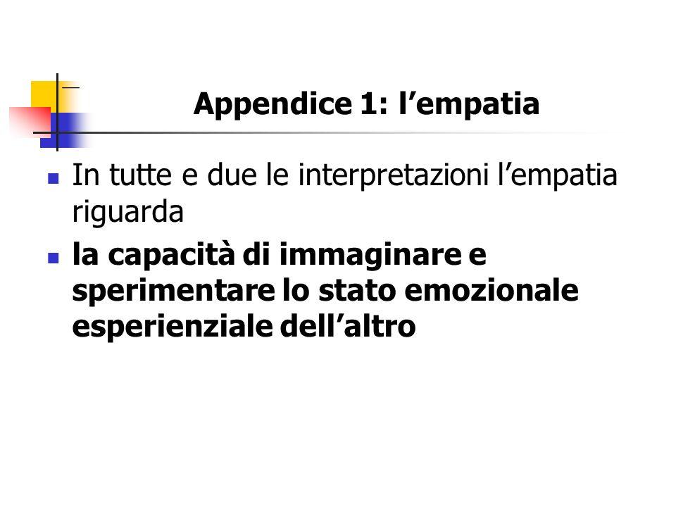 Appendice 1: lempatia In tutte e due le interpretazioni lempatia riguarda la capacità di immaginare e sperimentare lo stato emozionale esperienziale d