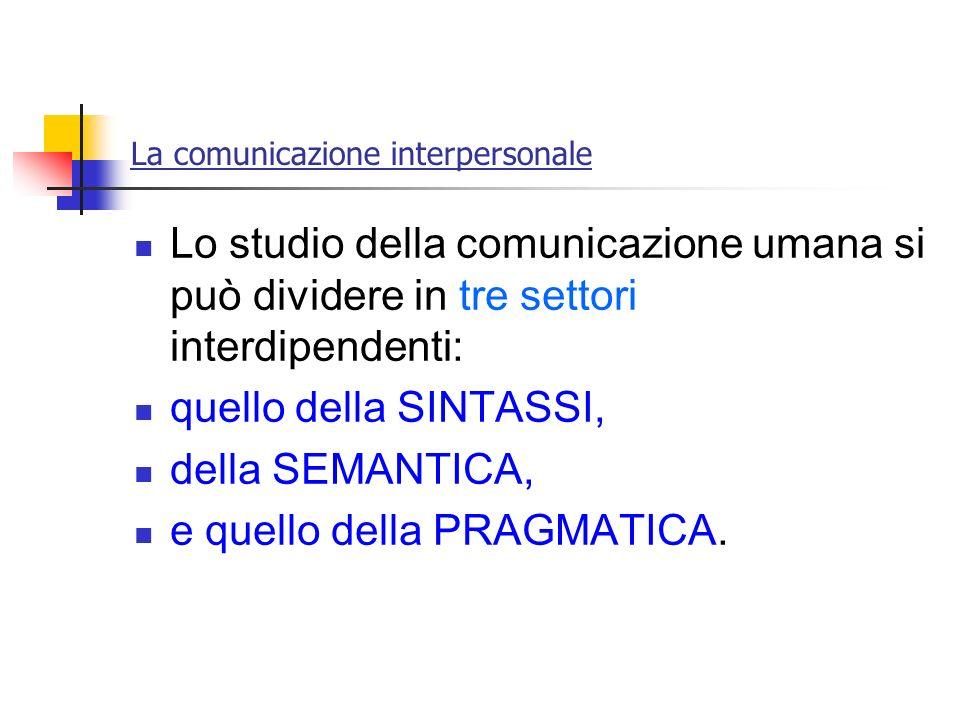 La comunicazione interpersonale Lo studio della comunicazione umana si può dividere in tre settori interdipendenti: quello della SINTASSI, della SEMAN