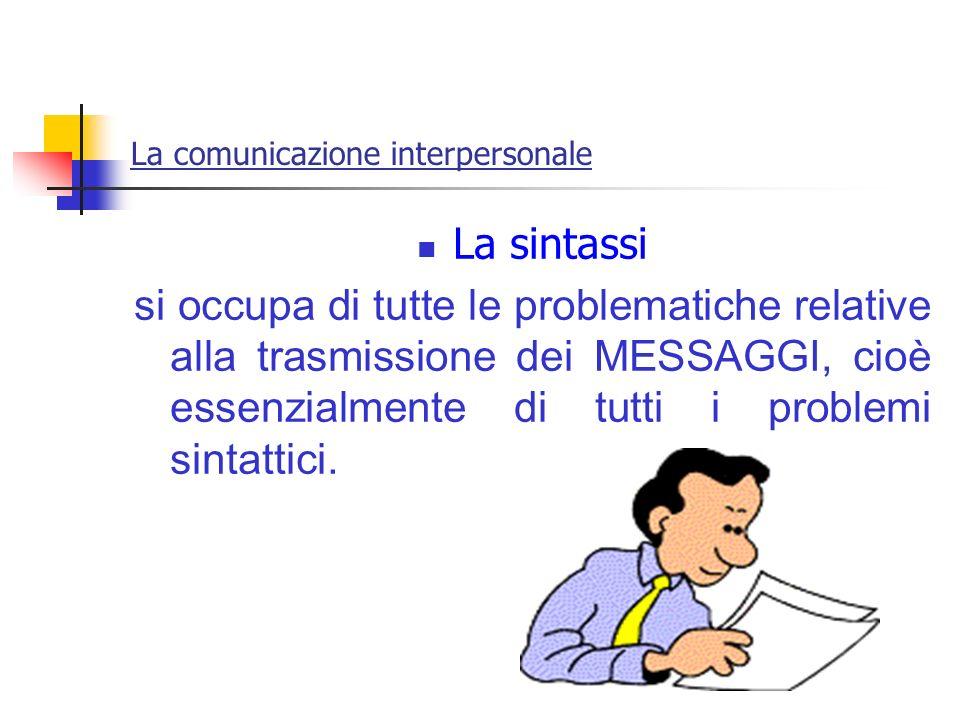 La comunicazione interpersonale La sintassi si occupa di tutte le problematiche relative alla trasmissione dei MESSAGGI, cioè essenzialmente di tutti