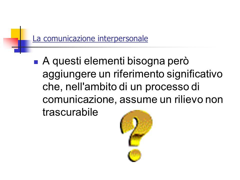 La comunicazione interpersonale A questi elementi bisogna però aggiungere un riferimento significativo che, nell'ambito di un processo di comunicazion