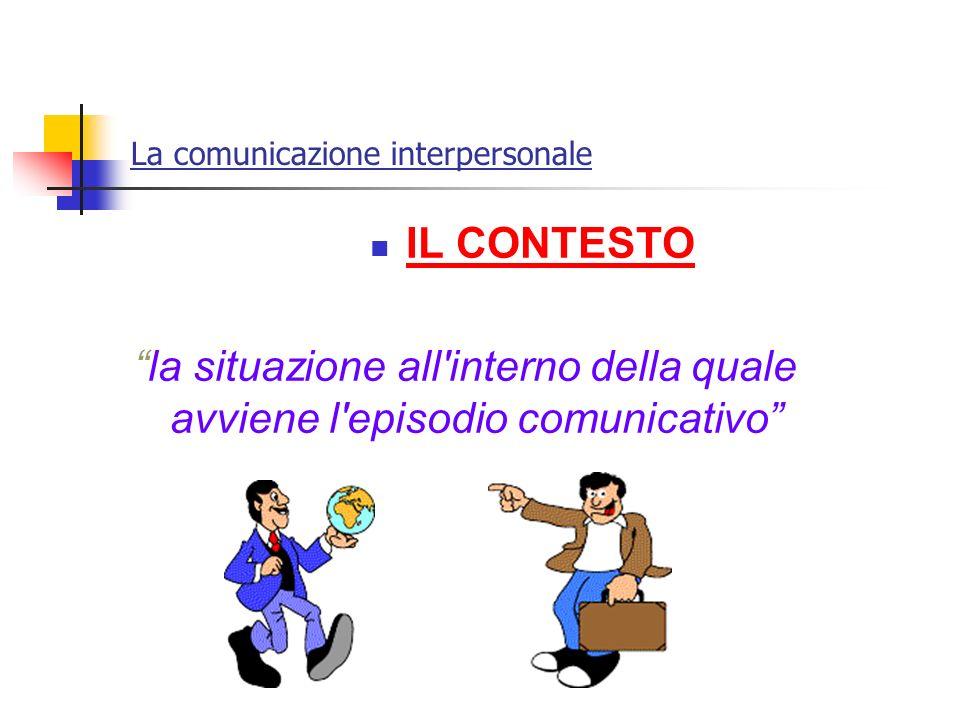 La comunicazione interpersonale IL CONTESTO la situazione all'interno della quale avviene l'episodio comunicativo
