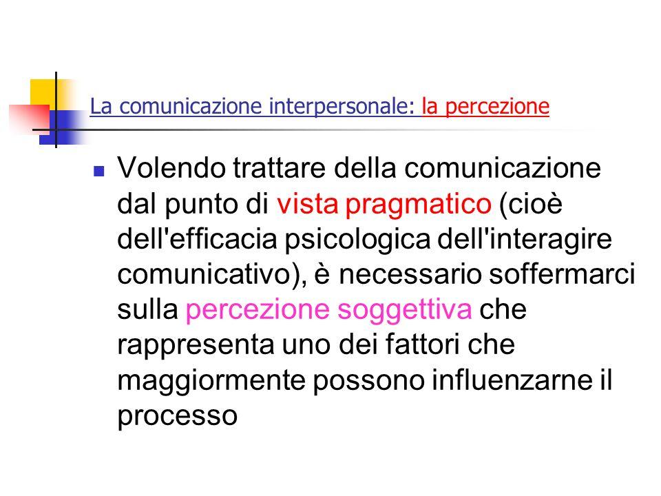 La comunicazione interpersonale: la percezione Volendo trattare della comunicazione dal punto di vista pragmatico (cioè dell'efficacia psicologica del