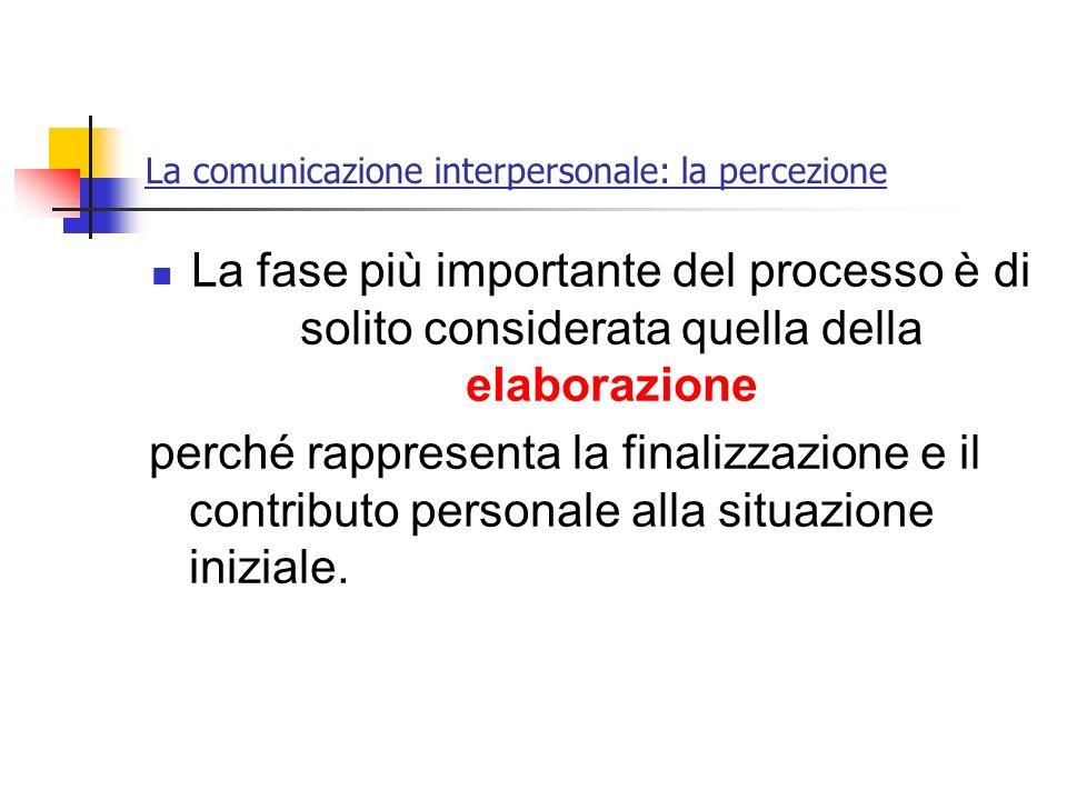 La comunicazione interpersonale: la percezione La fase più importante del processo è di solito considerata quella della elaborazione perché rappresent