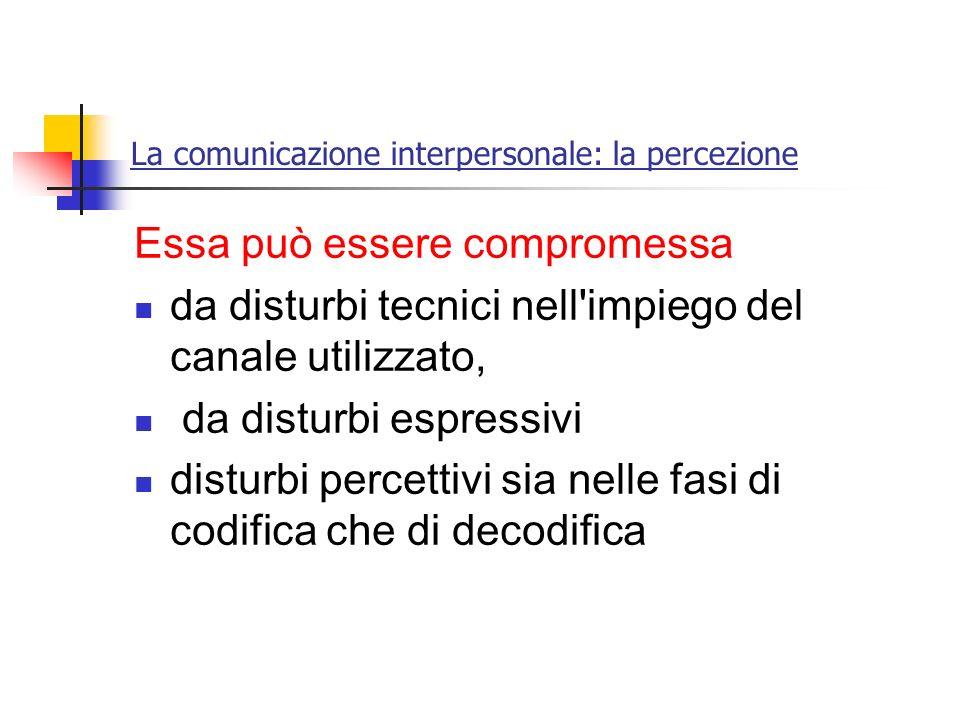La comunicazione interpersonale: la percezione Essa può essere compromessa da disturbi tecnici nell'impiego del canale utilizzato, da disturbi espress