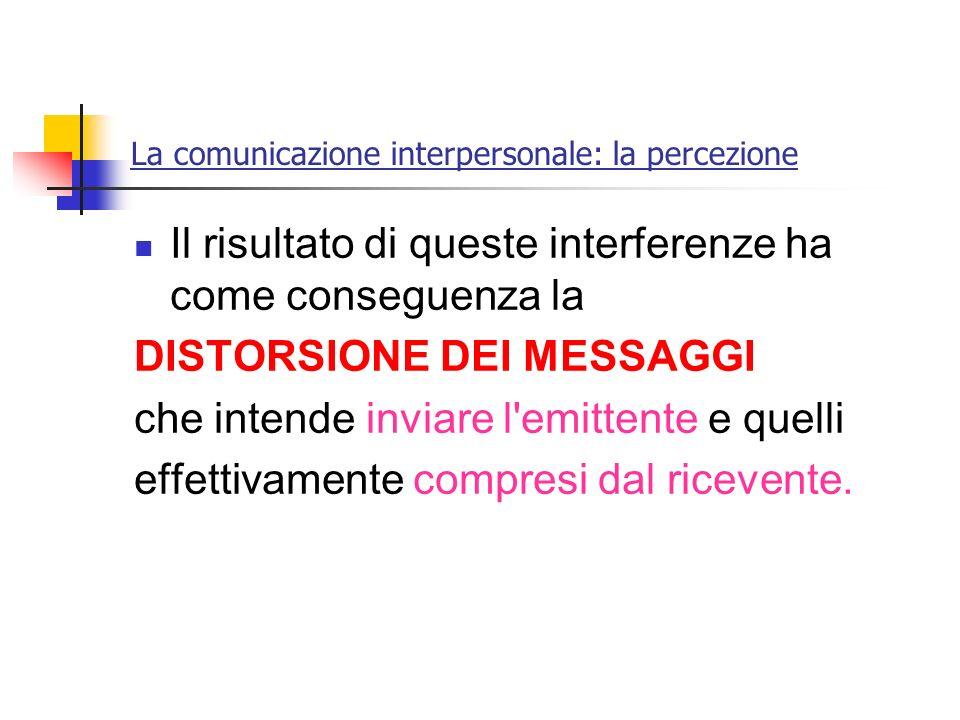 La comunicazione interpersonale: la percezione Il risultato di queste interferenze ha come conseguenza la DISTORSIONE DEI MESSAGGI che intende inviare