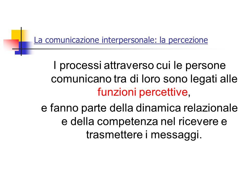 La comunicazione interpersonale: la percezione I processi attraverso cui le persone comunicano tra di loro sono legati alle funzioni percettive, e fan