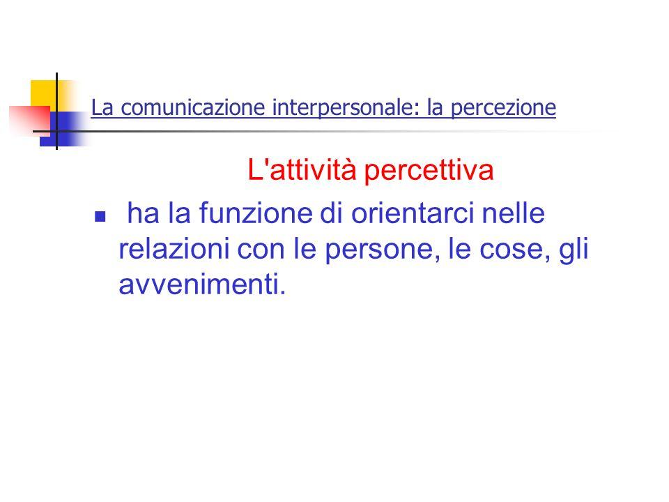 La comunicazione interpersonale: la percezione L'attività percettiva ha la funzione di orientarci nelle relazioni con le persone, le cose, gli avvenim