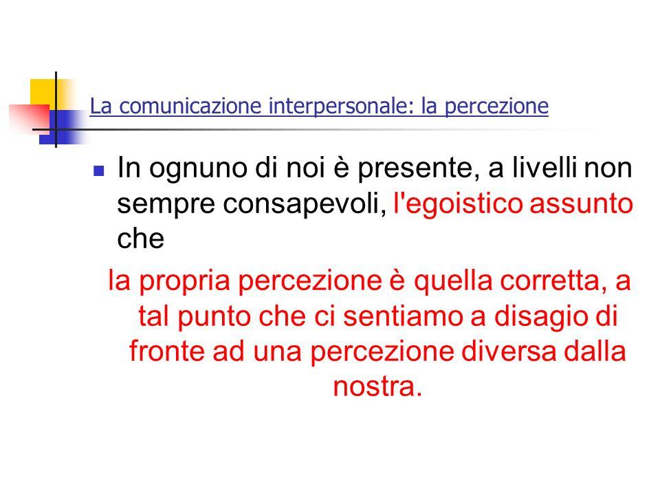 La comunicazione interpersonale: la percezione In ognuno di noi è presente, a livelli non sempre consapevoli, l'egoistico assunto che la propria perce