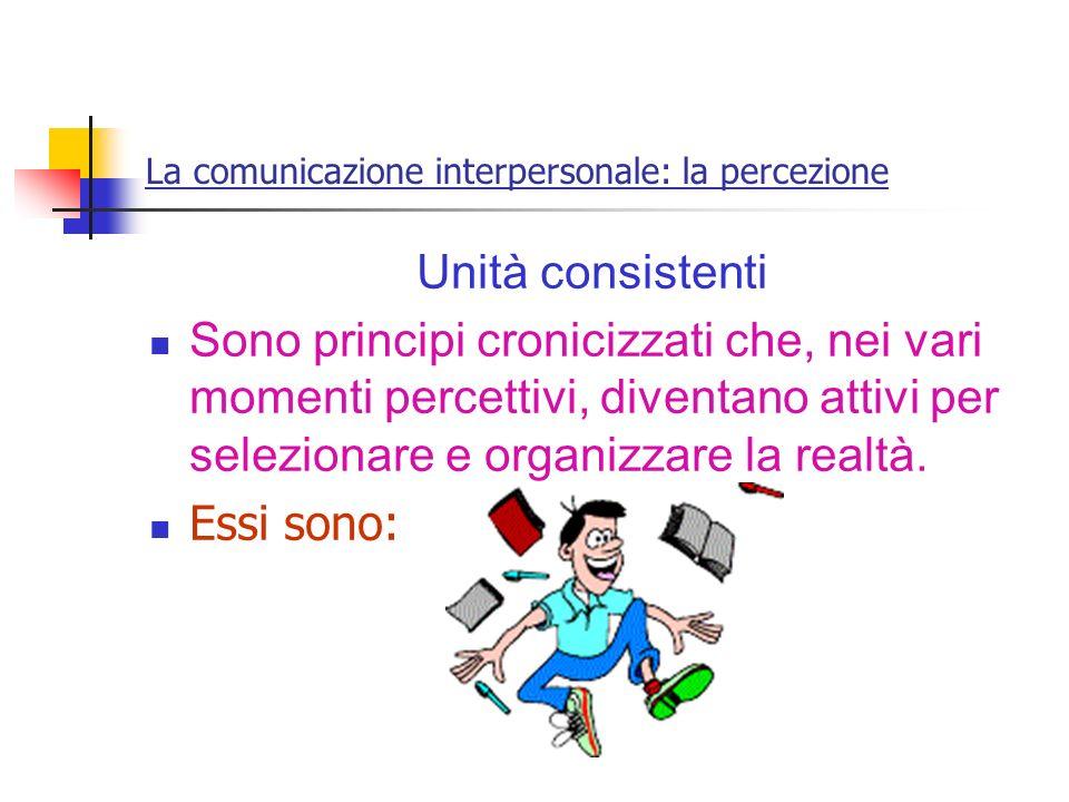 La comunicazione interpersonale: la percezione Unità consistenti Sono principi cronicizzati che, nei vari momenti percettivi, diventano attivi per sel