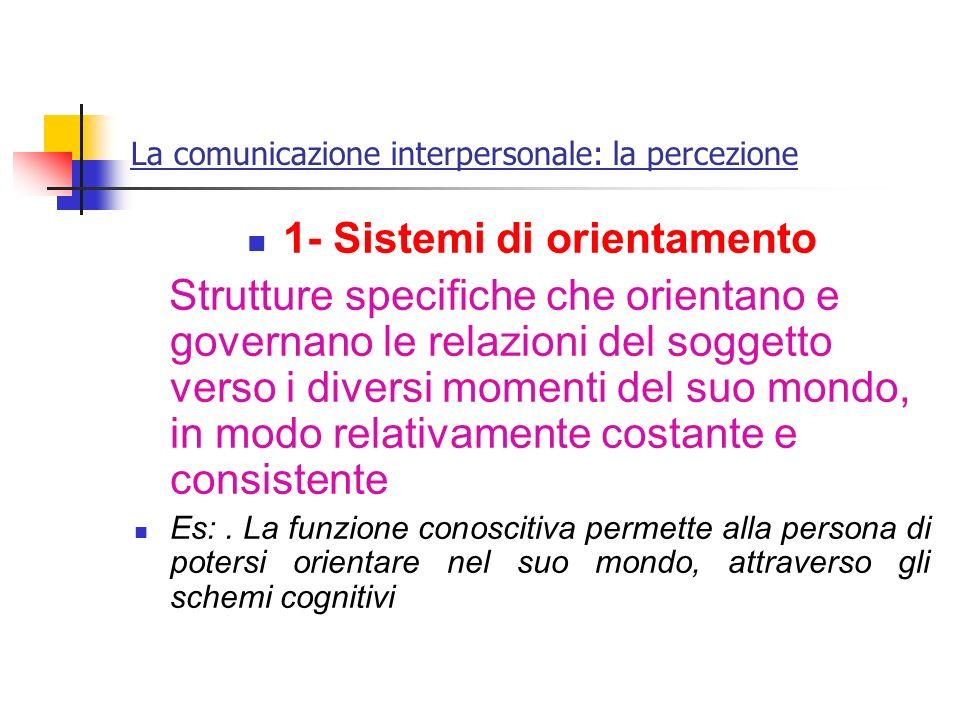 La comunicazione interpersonale: la percezione 1- Sistemi di orientamento Strutture specifiche che orientano e governano le relazioni del soggetto ver