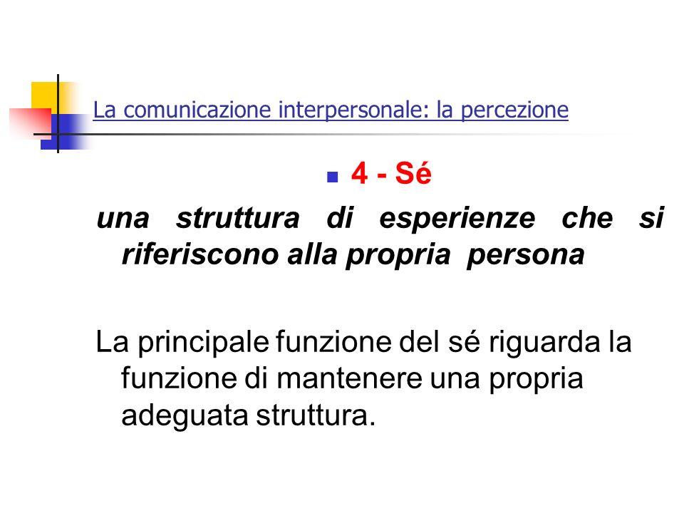 La comunicazione interpersonale: la percezione 4 - Sé una struttura di esperienze che si riferiscono alla propria persona La principale funzione del s