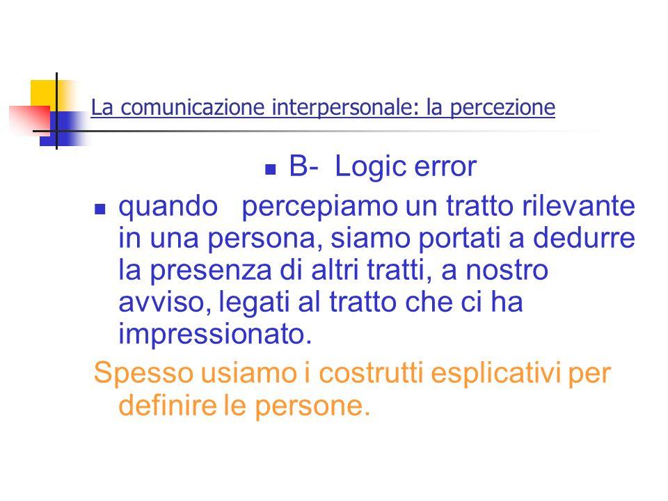 La comunicazione interpersonale: la percezione B- Logic error quando percepiamo un tratto rilevante in una persona, siamo portati a dedurre la presenz