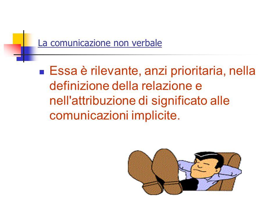 La comunicazione non verbale Essa è rilevante, anzi prioritaria, nella definizione della relazione e nell'attribuzione di significato alle comunicazio