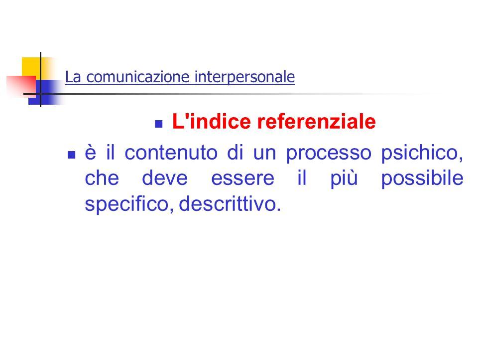 La comunicazione interpersonale L'indice referenziale è il contenuto di un processo psichico, che deve essere il più possibile specifico, descrittivo.