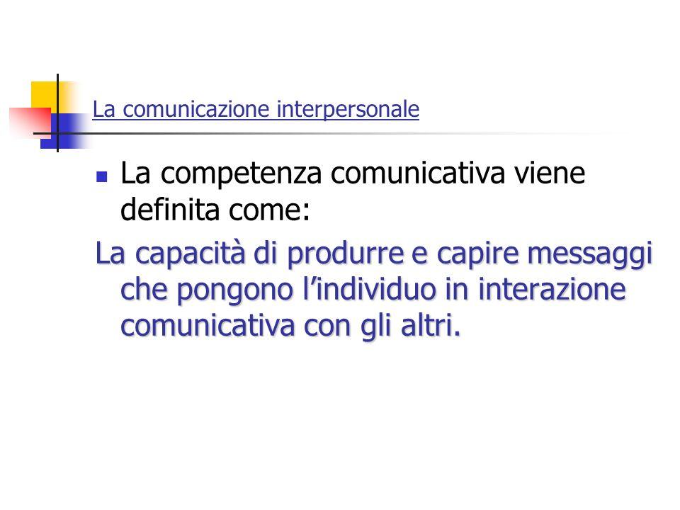La comunicazione interpersonale La competenza comunicativa viene definita come: La capacità di produrre e capire messaggi che pongono lindividuo in in