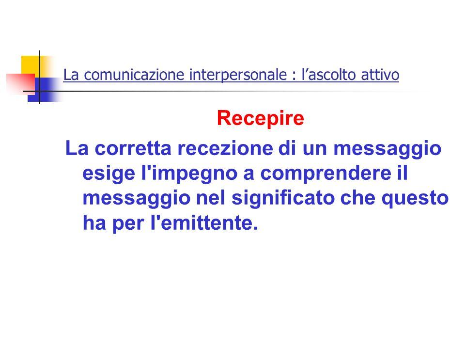 La comunicazione interpersonale : lascolto attivo Recepire La corretta recezione di un messaggio esige I'impegno a comprendere il messaggio nel signif