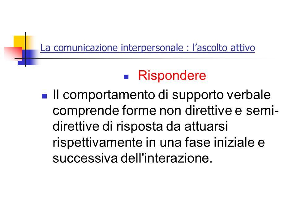 La comunicazione interpersonale : lascolto attivo Rispondere Il comportamento di supporto verbale comprende forme non direttive e semi- direttive di r