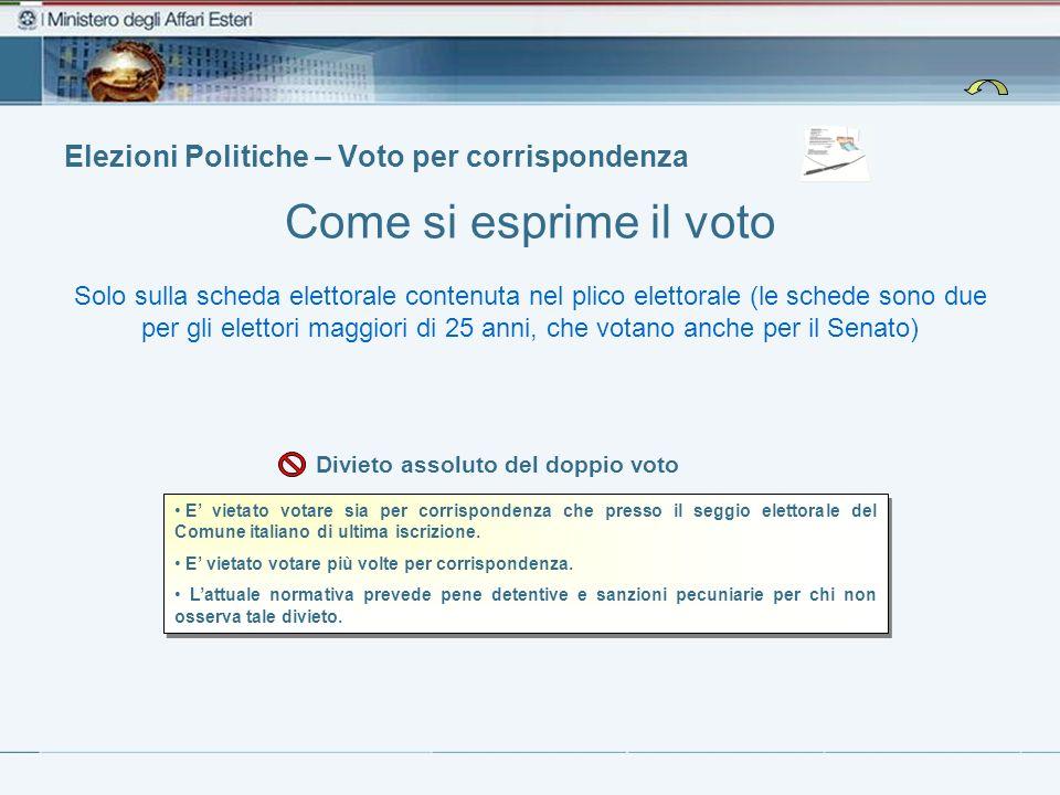 Elezioni Politiche – Voto per corrispondenza Come si esprime il voto E vietato votare sia per corrispondenza che presso il seggio elettorale del Comune italiano di ultima iscrizione.