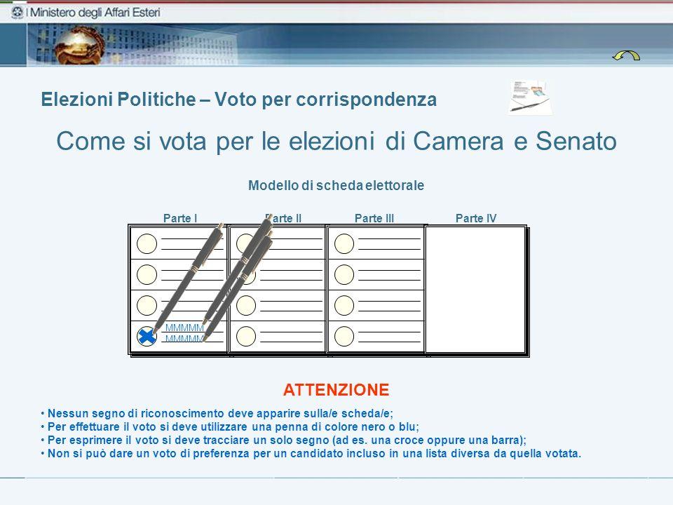 Elezioni Politiche – Voto per corrispondenza Come si vota per le elezioni di Camera e Senato Modello di scheda elettorale Nessun segno di riconoscimen