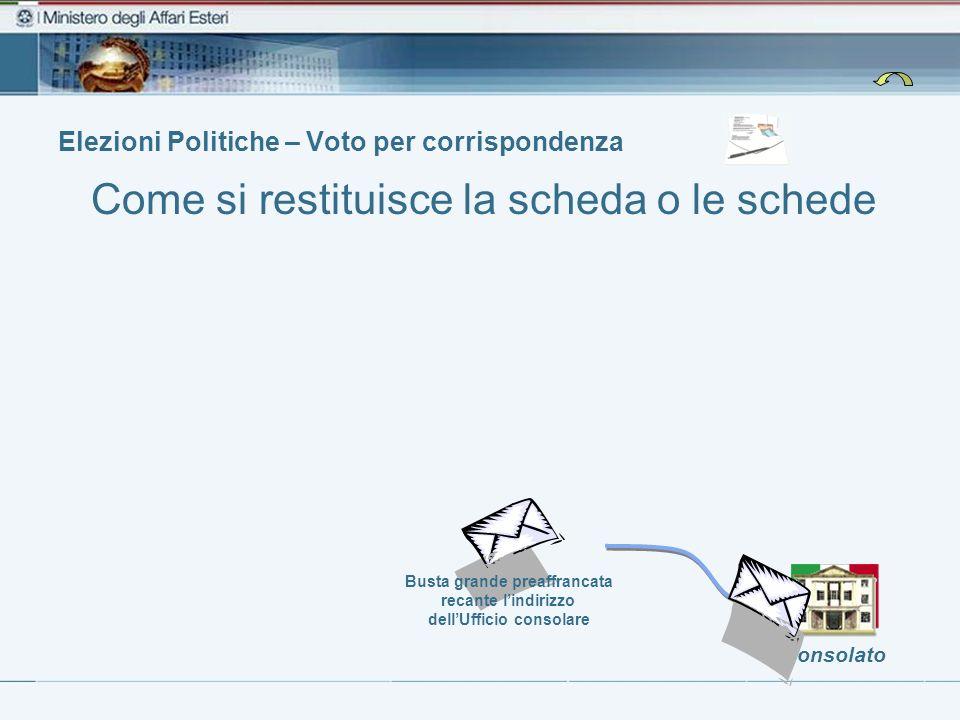 Elezioni Politiche – Voto per corrispondenza Consolato Busta grande preaffrancata recante lindirizzo dellUfficio consolare Come si restituisce la scheda o le schede