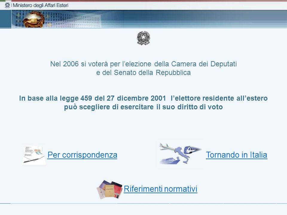 Nel 2006 si voterà per lelezione della Camera dei Deputati e del Senato della Repubblica In base alla legge 459 del 27 dicembre 2001 lelettore residen