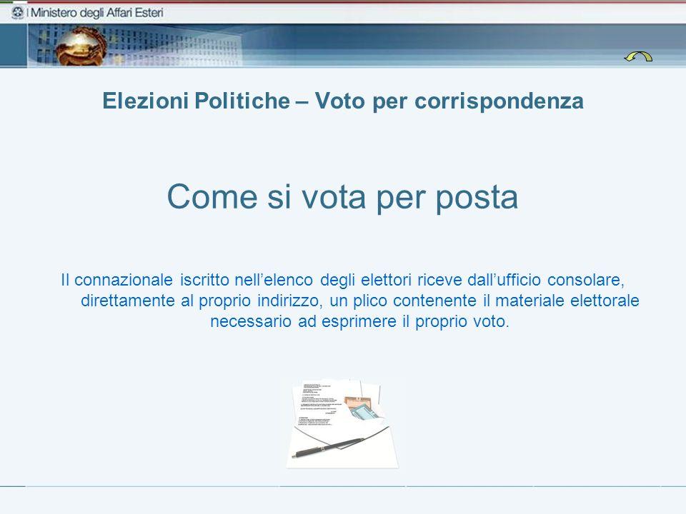 Elezioni Politiche – Voto per corrispondenza Come si vota per posta Il connazionale iscritto nellelenco degli elettori riceve dallufficio consolare, d