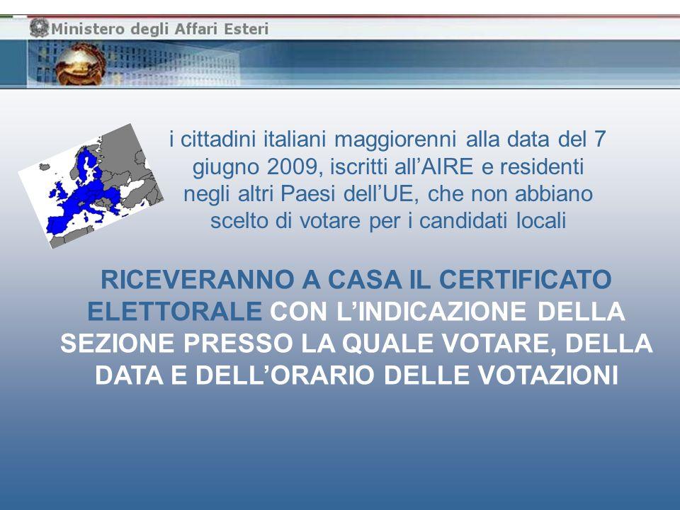 chi entro il 2 giugno, quinto giorno antecedente la data delle votazioni, non avesse ancora ricevuto il certificato elettorale PUÒ CONTATTARE LUFFICIO CONSOLARE COMPETENTE PER VERIFICARE LA PROPRIA POSIZIONE ELETTORALE AI FINI DELLESERCIZIO DEL VOTO ED EVENTUALMENTE RICHIEDERE IL CERTIFICATO ELETTORALE SOSTITUTIVO