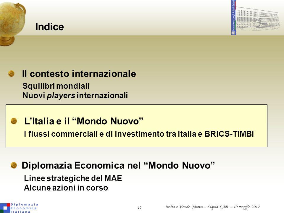 10 Italia e Mondo Nuovo – Liquid.LAB – 10 maggio 2012 Indice LItalia e il Mondo Nuovo Diplomazia Economica nel Mondo Nuovo I flussi commerciali e di i