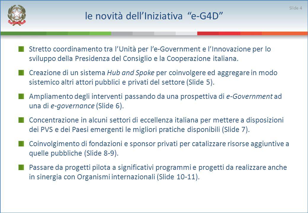 le novità dellIniziativa e-G4D Stretto coordinamento tra lUnità per le-Government e lInnovazione per lo sviluppo della Presidenza del Consiglio e la Cooperazione italiana.