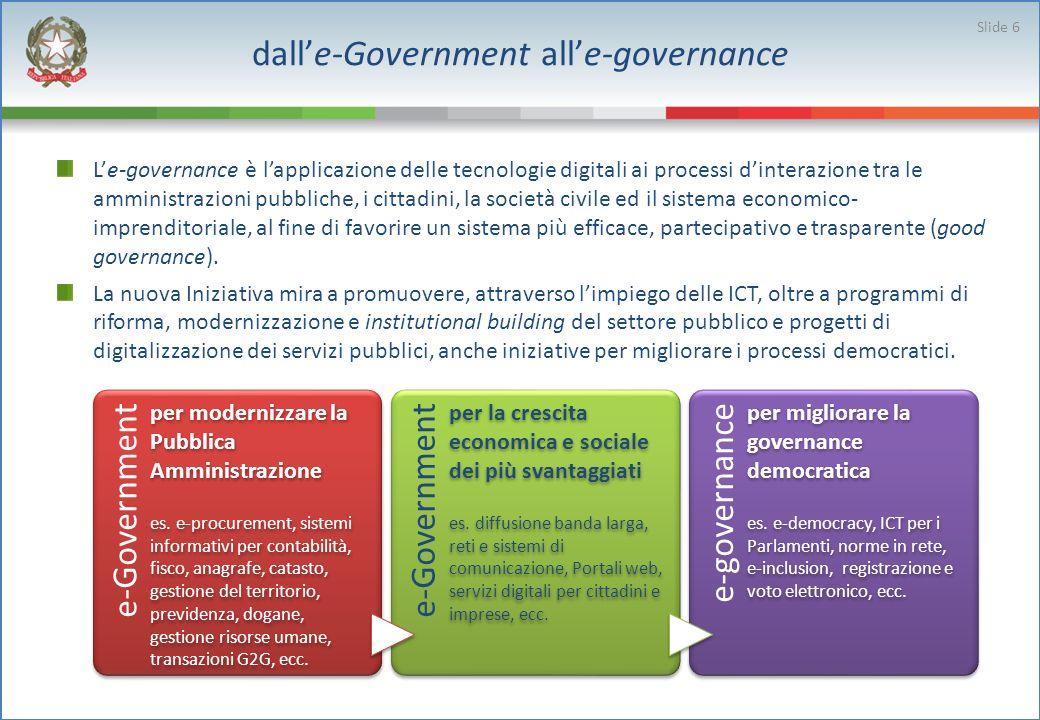 dalle-Government alle-governance Le-governance è lapplicazione delle tecnologie digitali ai processi dinterazione tra le amministrazioni pubbliche, i cittadini, la società civile ed il sistema economico- imprenditoriale, al fine di favorire un sistema più efficace, partecipativo e trasparente (good governance).