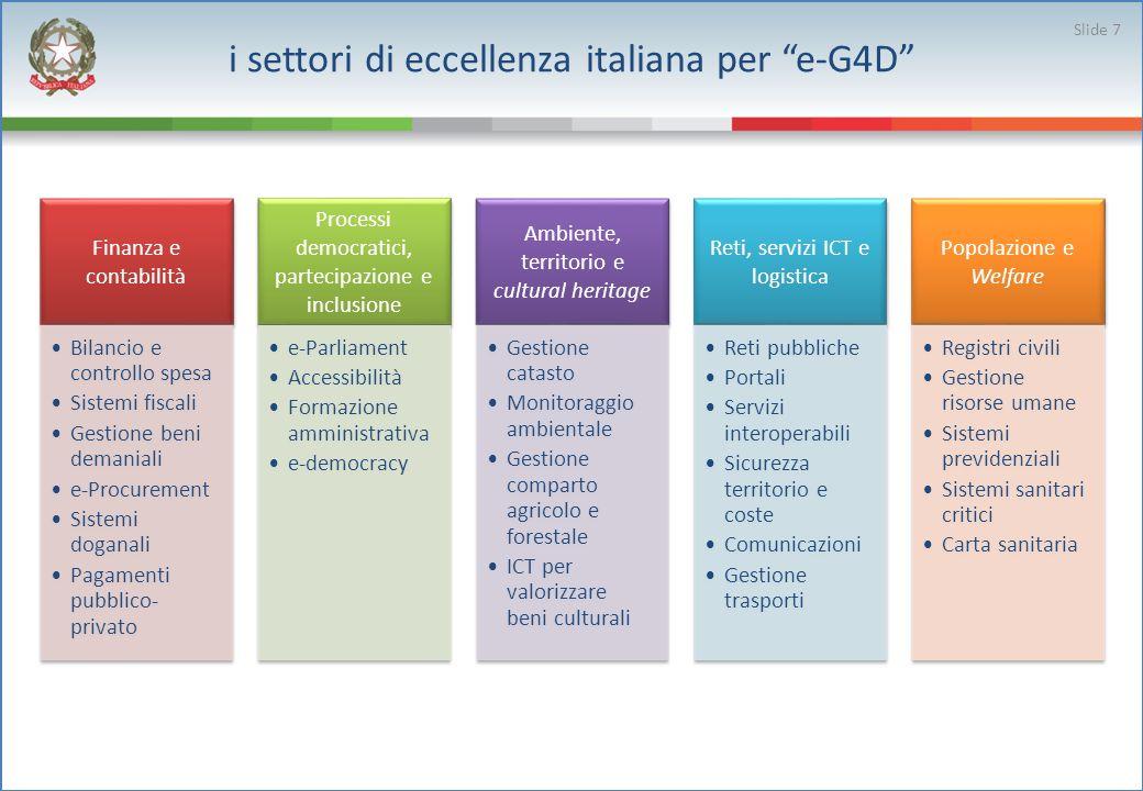 i settori di eccellenza italiana per e-G4D Slide 7 Finanza e contabilità Bilancio e controllo spesa Sistemi fiscali Gestione beni demaniali e-Procurem