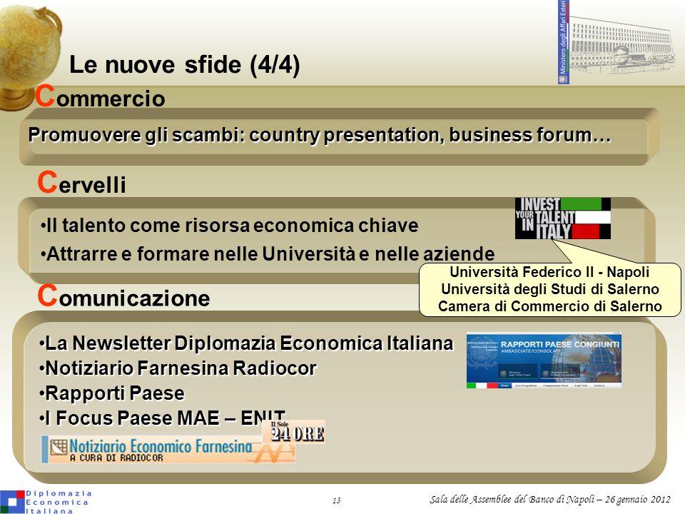 13 Sala delle Assemblee del Banco di Napoli – 26 gennaio 2012 Le nuove sfide (4/4) Il talento come risorsa economica chiave Attrarre e formare nelle U