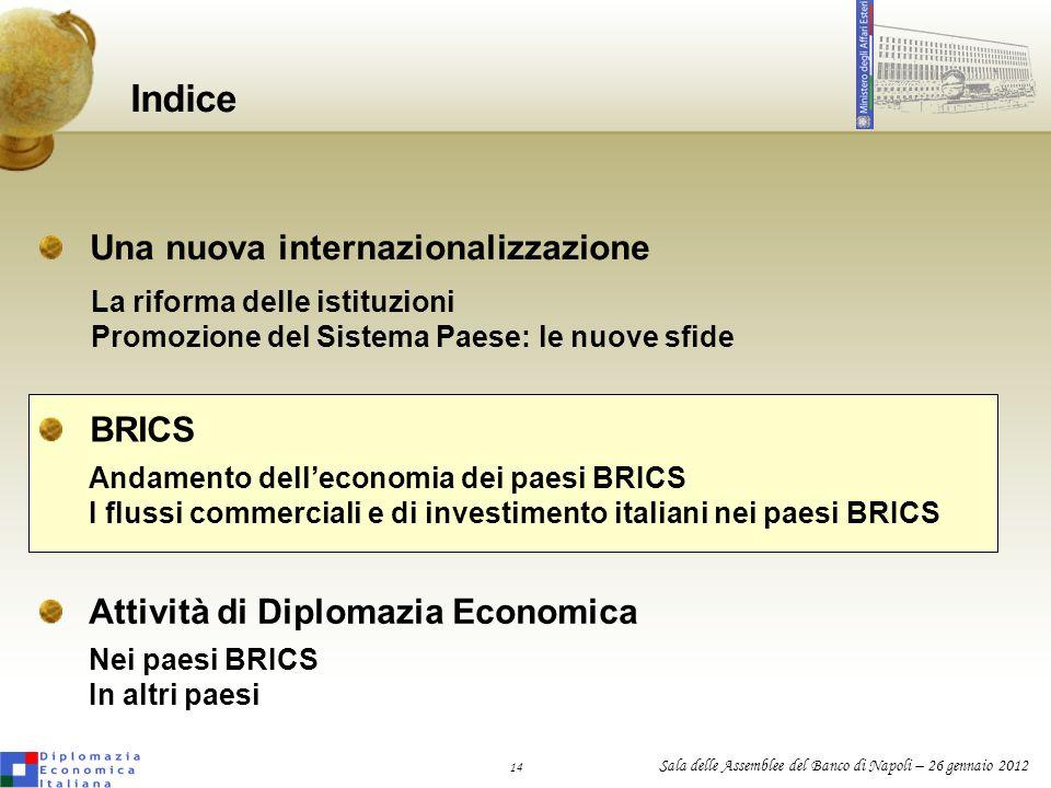 14 Sala delle Assemblee del Banco di Napoli – 26 gennaio 2012 Una nuova internazionalizzazione Indice Attività di Diplomazia Economica La riforma dell