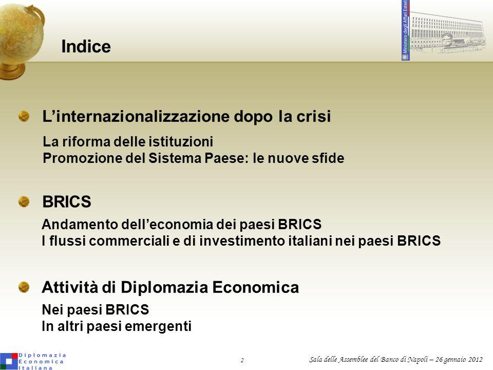 2 Sala delle Assemblee del Banco di Napoli – 26 gennaio 2012 Linternazionalizzazione dopo la crisi Indice BRICS Attività di Diplomazia Economica La ri
