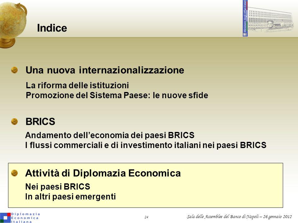 24 Sala delle Assemblee del Banco di Napoli – 26 gennaio 2012 Una nuova internazionalizzazione Indice BRICS La riforma delle istituzioni Promozione de