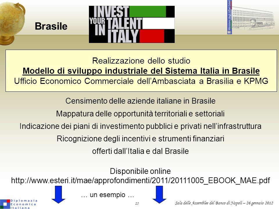 25 Sala delle Assemblee del Banco di Napoli – 26 gennaio 2012 Brasile Realizzazione dello studio Modello di sviluppo industriale del Sistema Italia in