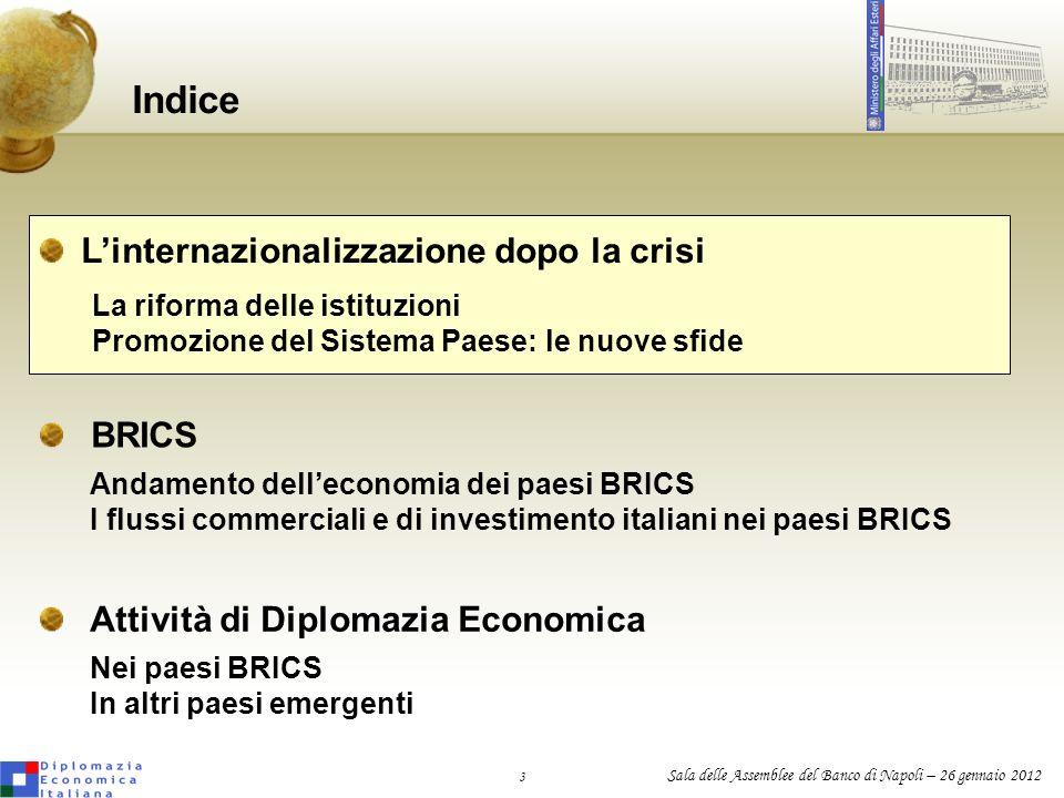 3 Sala delle Assemblee del Banco di Napoli – 26 gennaio 2012 Indice BRICS Attività di Diplomazia Economica Linternazionalizzazione dopo la crisi La ri