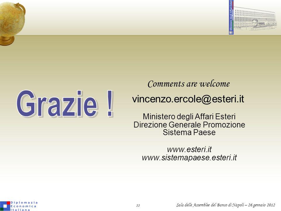 33 Sala delle Assemblee del Banco di Napoli – 26 gennaio 2012 Comments are welcome vincenzo.ercole@esteri.it Ministero degli Affari Esteri Direzione G