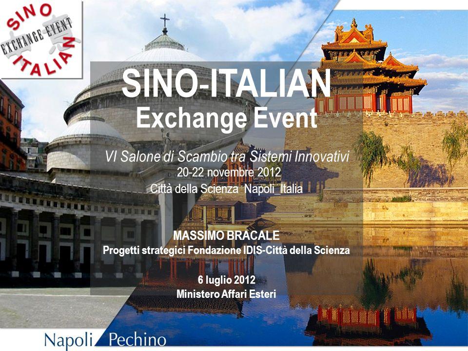 SINO - ITALIAN Exchange Event VI Salone di Scambio tra Sistemi Innovativi 20-22 novembre 2012 Città della Scienza Napoli_Italia MASSIMO BRACALE Proget