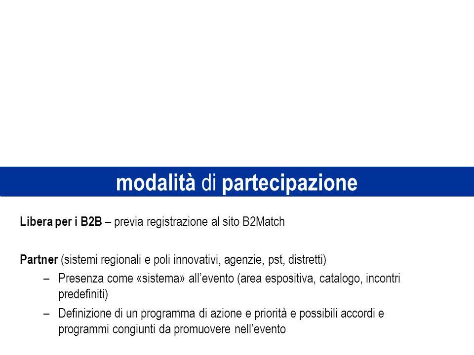 modalità di partecipazione Libera per i B2B – previa registrazione al sito B2Match Partner (sistemi regionali e poli innovativi, agenzie, pst, distret