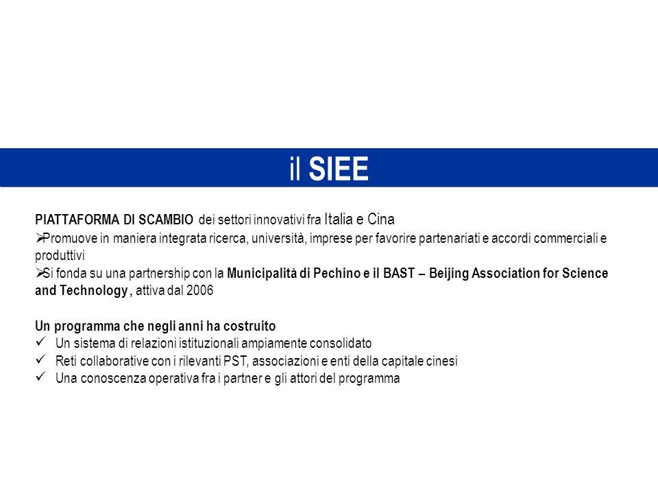 il SIEE PIATTAFORMA DI SCAMBIO dei settori innovativi fra Italia e Cina Promuove in maniera integrata ricerca, università, imprese per favorire parten