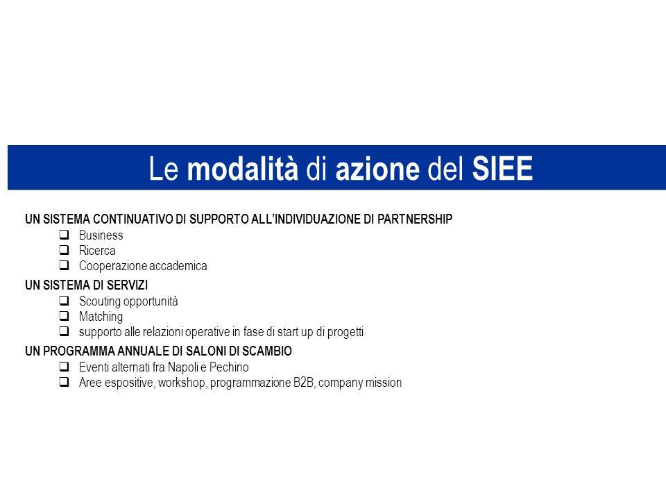 Le modalità di azione del SIEE UN SISTEMA CONTINUATIVO DI SUPPORTO ALLINDIVIDUAZIONE DI PARTNERSHIP Business Ricerca Cooperazione accademica UN SISTEM