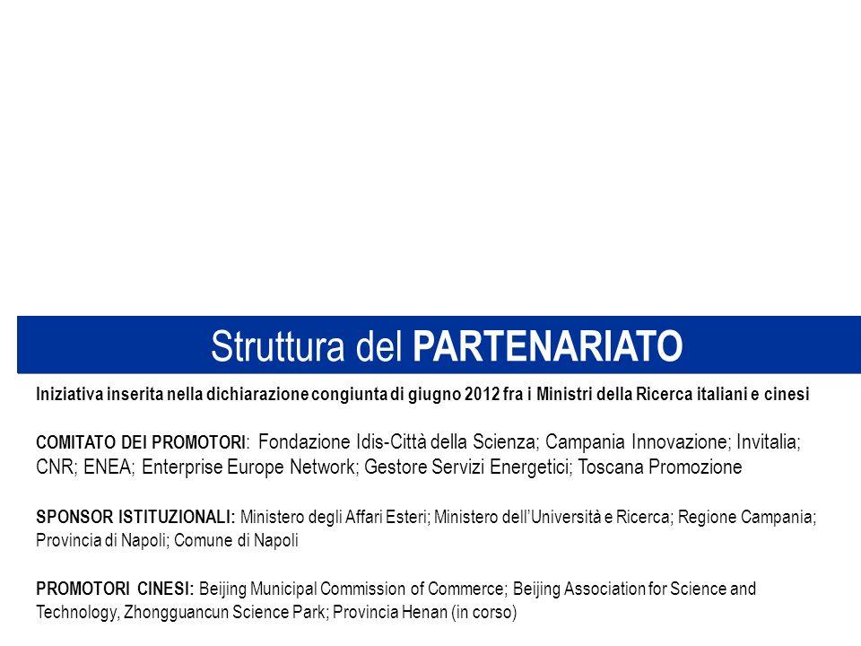 Struttura del PARTENARIATO Iniziativa inserita nella dichiarazione congiunta di giugno 2012 fra i Ministri della Ricerca italiani e cinesi COMITATO DE