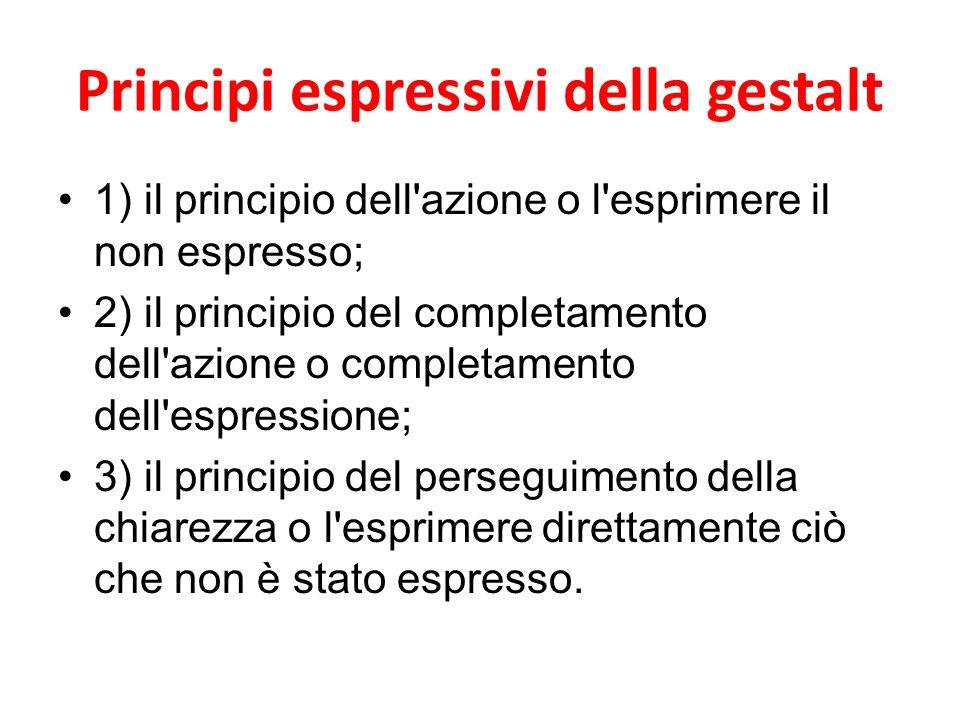 Principi espressivi della gestalt 1) il principio dell'azione o l'esprimere il non espresso; 2) il principio del completamento dell'azione o completam