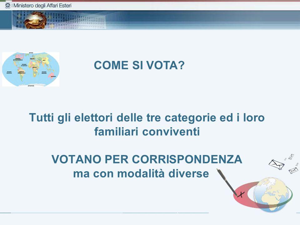 Tutti gli elettori delle tre categorie ed i loro familiari conviventi VOTANO PER CORRISPONDENZA ma con modalità diverse… COME SI VOTA?