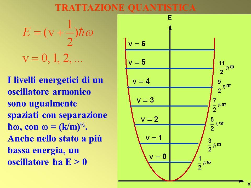 TRATTAZIONE QUANTISTICA I livelli energetici di un oscillatore armonico sono ugualmente spaziati con separazione ħ, con = (k/m) ½. Anche nello stato a