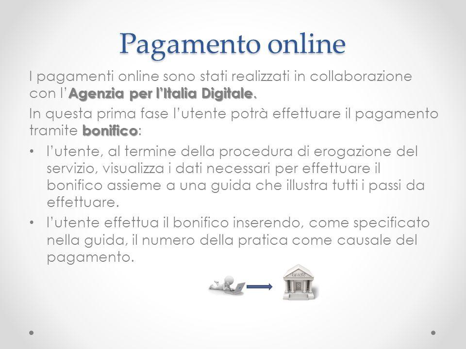 Pagamento online Agenzia per lItalia Digitale. I pagamenti online sono stati realizzati in collaborazione con l Agenzia per lItalia Digitale. bonifico