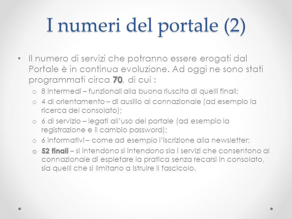 I numeri del portale (2) 70 Il numero di servizi che potranno essere erogati dal Portale è in continua evoluzione. Ad oggi ne sono stati programmati c