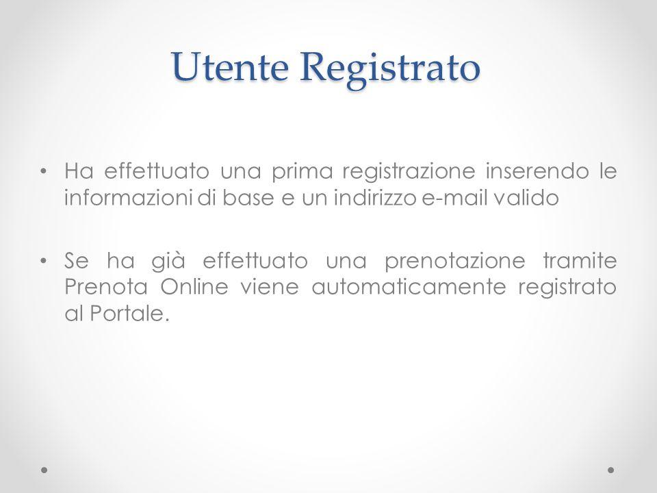 Utente Registrato Ha effettuato una prima registrazione inserendo le informazioni di base e un indirizzo e-mail valido Se ha già effettuato una prenot
